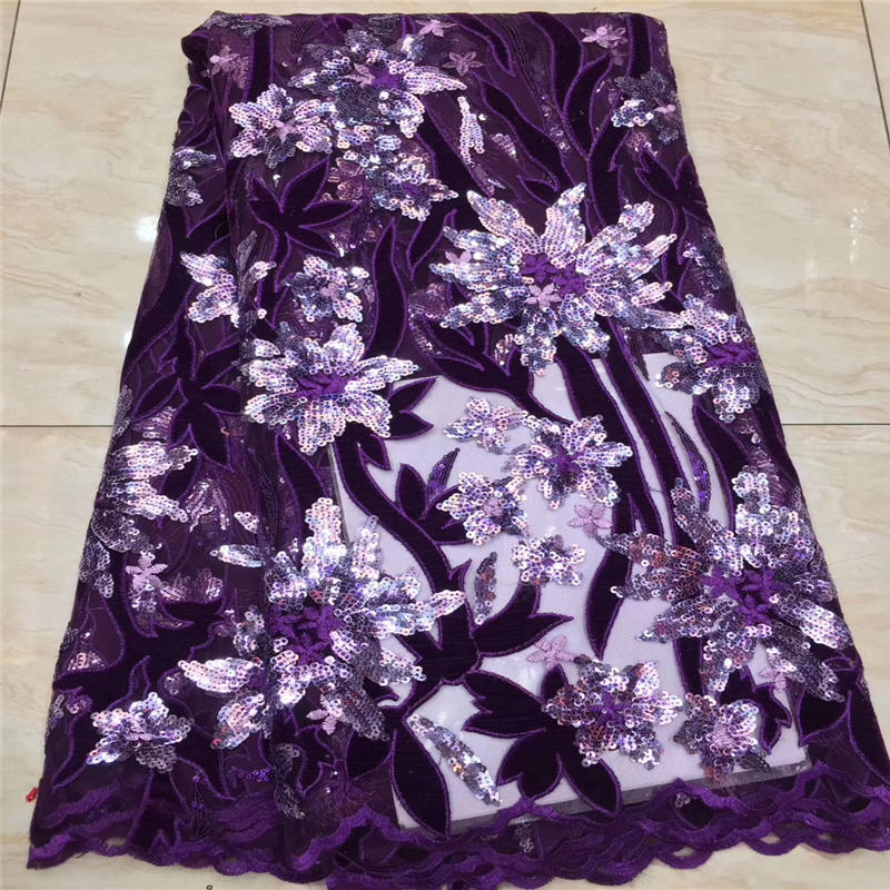 New Organza French Laces Fabric 3D Big Gleamy Sequins Flower embroidery African Lace Fabrics High Quality 2019 For Wedding
