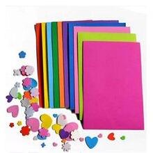 10 unids/lote precio más bajo 10 color A4 grueso Multicolor esponja de espuma de papel doble scrapbooking bricolaje artesanía de papel decoración 21*29,7*0,1 cm