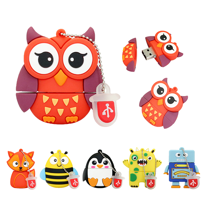 Animal/Robot/Demon USB Flash Drive Pen Drive 256 128 32 Gb 256GB 64GB 32GB 16GB 8GB 4GB Pendrive Usb2.0 Cle Usb Owl Memory Stick