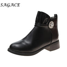 SAGACE Shoes ladies black leather boots women zipper boots square heels Rhinestone shoes 2019 new laides winter platform boots(China)