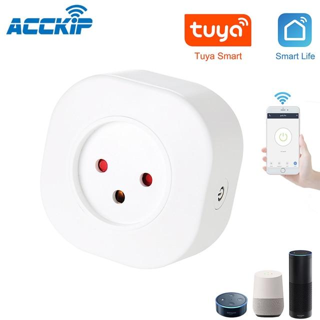 ACCKIP minienchufe inteligente de Israel, enchufe básico inalámbrico con WiFi, aplicación remota de Control, adaptador de corriente inteligente, enchufe de Israel, salida de 220V