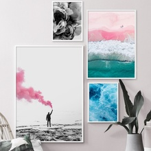 Pink Beach Wave Flower Hand Quotes Wall Art Print Canvas Painting Nordic Posters And Prints Pictures For Living Room Decor