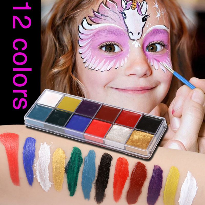 Festival World Cup Body Painting Play Clown Halloween Makeup Face Paint Oil 12 Color Face Painted Makeup Flash Tattoo