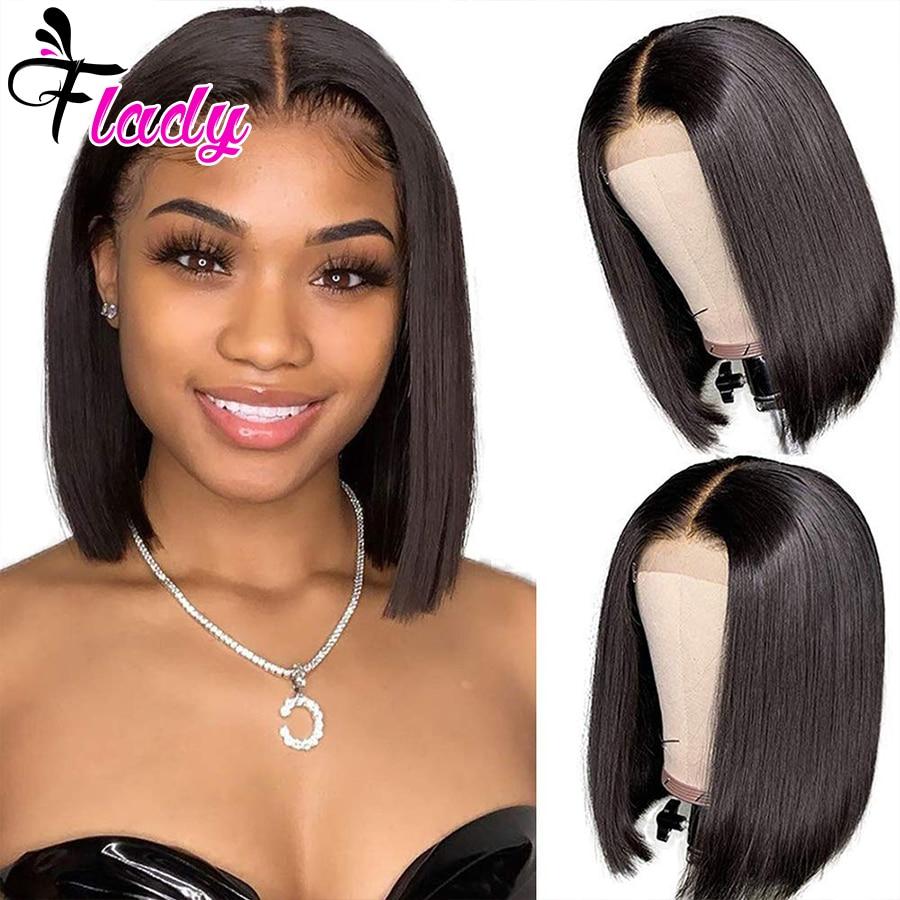 Парики короткие из человеческих волос, перуанские прямые волосы с завязкой спереди, 10 дюймов, для черных женщин, с предварительным выщипыва...