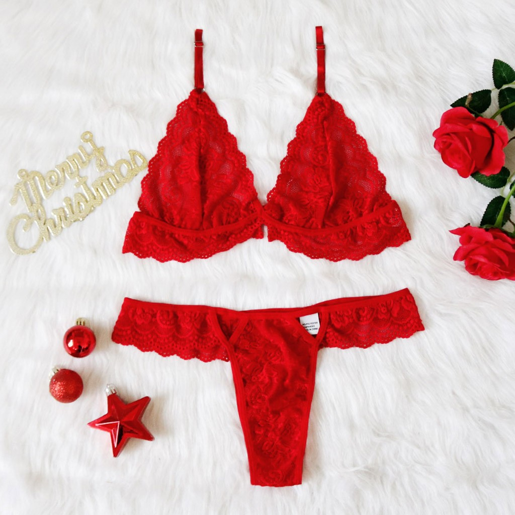 S-3XL Red Lingerie Bra Set Embroidery Lingerie Set Women Sexy Lace Christmas Lingerie Set Plus Size Bra Hollow Thong Underwear