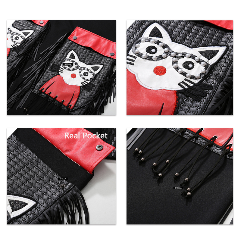 New Woman Winter Unique Style Black Dress Plus Size Midi PU Long Sleeve Cartoon Pocket Fringes Ladies Cute Large Dress Robe 3084