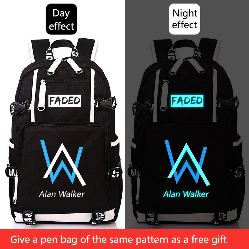 Alan Walker Faded School Bag Luminous Backpack Student Bag Notebook Backpack Daily Backpack Glow In The Dark  For Teens
