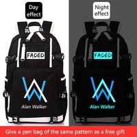 Alan Walker Faded School Bag Luminous backpack Student bag Notebook backpack Daily backpack Glow in the Dark for Teens