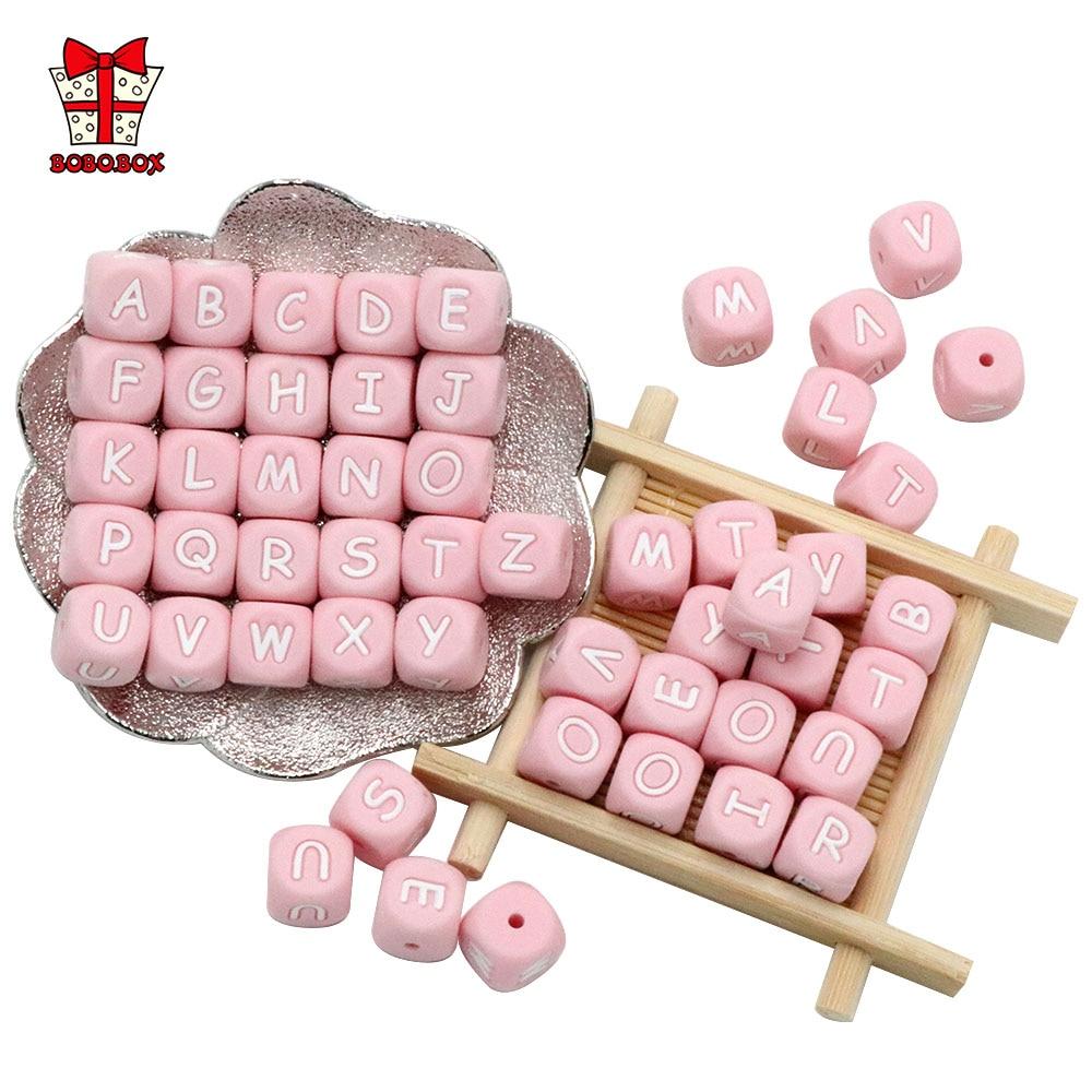 BOBO.BOX 10 шт. розовые силиконовые бусины с буквами 12 мм Детские бусины для прорезывания зубов персонализированные DIY силиконовые прорезывател...