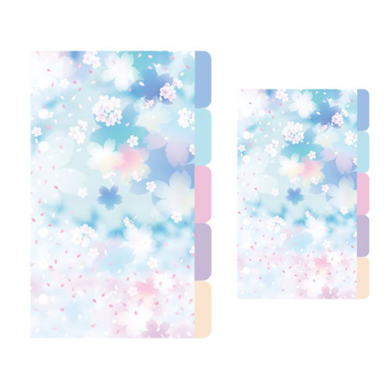 1Set Cherry Blossom A5 A6 Loose Leaf Notebook Divider Index Separator Binders QX2B