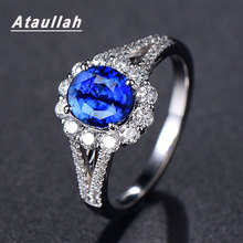 Ataullah Fashion 100% Real Sapphire Silver 925 Ring Round Gemstone Engagement Rings Fine Jewelry For Woman Drop Shipping RW091