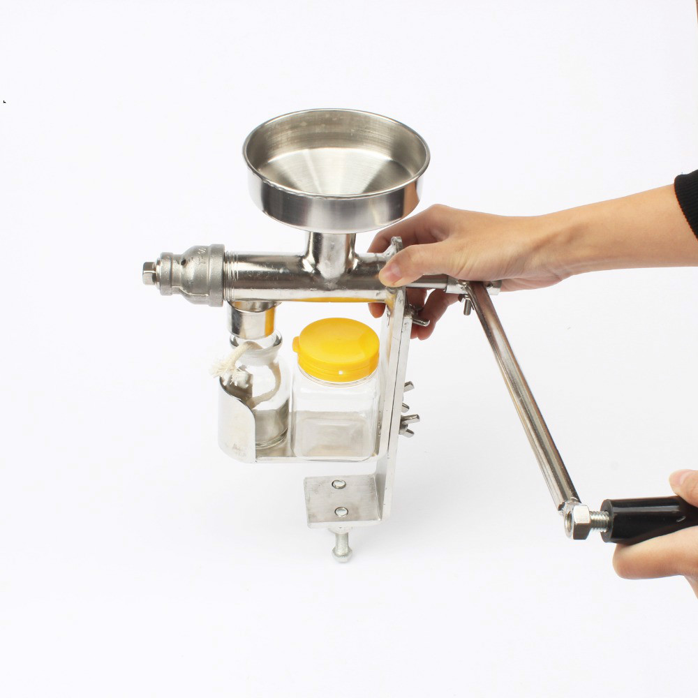 Manual Oil Press Machine Hand Oil Presser Expeller Extractor Peanut Seed Oil Extraction Machine Maker Food Grade Stainless Steel