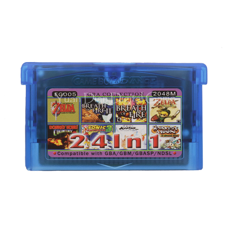 For Nintendo GBA Video Game Cartridge Console Card Collection English Language EG005 24 In 1