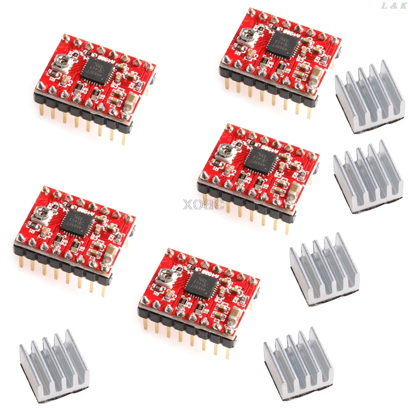 5Pcs A4988 StepStick Stepper Driver+Heatsink For Reprap Pololu 3D Printer Red   M08 Dropship