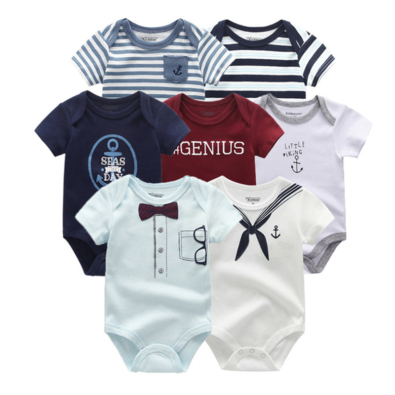 2019 7PCS/Lot Newbron Cotton Baby Boy Clothes Unisex 0-12M Clothing Sets Short Sleeve Baby Girl Clothes Summer Roupa de bebe 1