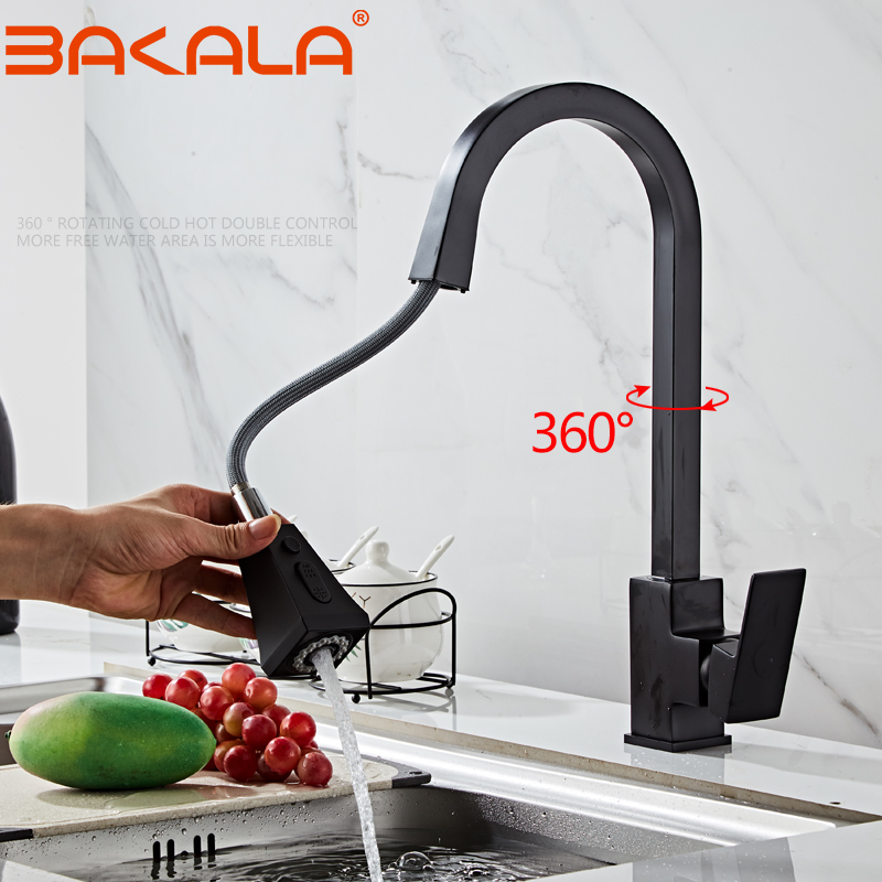 BAKALA Pull Out Kitchen Faucets Sink Faucet Brass Square Bathroom Kitchen Sink Mixers Hot And Cold Water Tap Deck Mounted