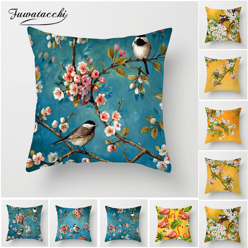 Fuwatacchi Plum Blossom Cushion Covers Flamingo Birds Cherry Pillow Cover For Home Chair Sofa Decoration Yellow Pillowcases