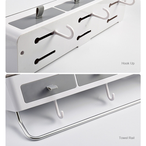 Image 5 - Punch free Bathroom Organizer Rack Shampoo Cosmetic Storage Rack Bath kitchen Towel Holder Household Items Bathroom Accessories