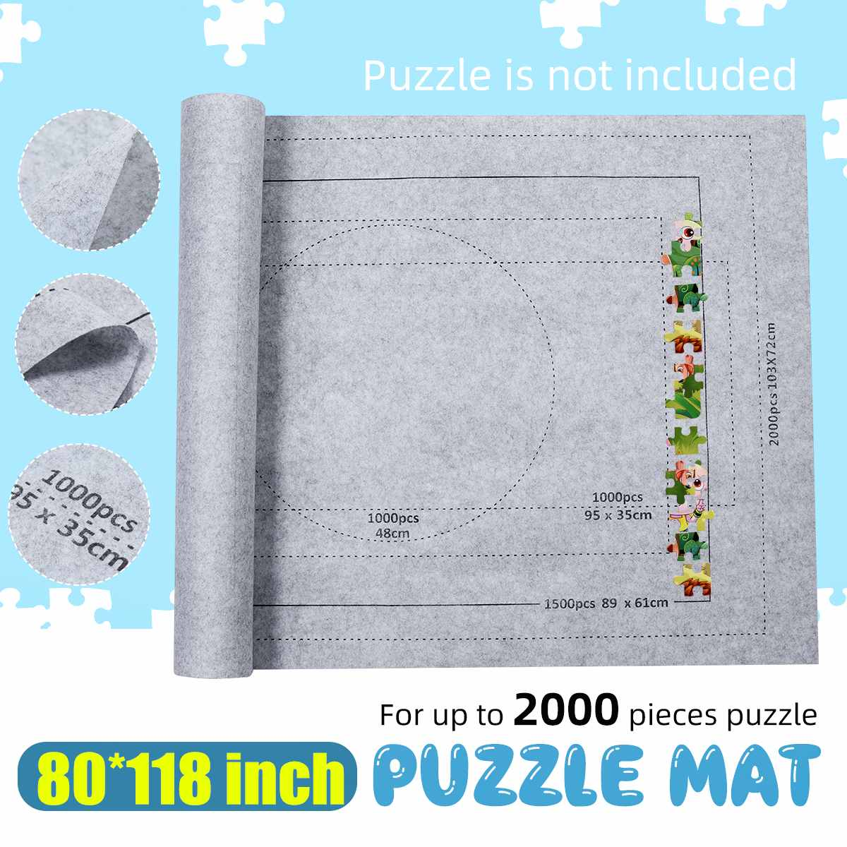 80*118 Inch Jigsaw Puzzle Mat Puzzles Blanket  Roll Up Puzzle Roll Felt For Up To 2000pcs Puzzle Travel Storage Bag Accessories