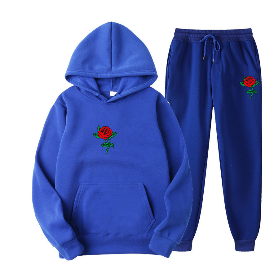 Suits Tracksuits Men Harajuku Rose Flower Print  Hoodies Winter Sweatshirt Casual 2-piece Set Jogger Pants+Pullovers Streetwear (8)