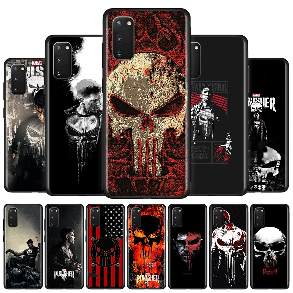 <font><b>Marvel</b></font> The Punisher Silicone <font><b>Case</b></font> For <font><b>Samsung</b></font> Galaxy S10 S20 Ultra 5G S10e S10 Lite S8 S9 Plus <font><b>S7</b></font> <font><b>Edge</b></font> Phone Shell Cover Couqe image