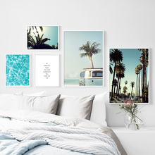 Sea Surface Coconut Tree Car Wall Art Canvas Painting Nordic Posters And Prints Landscape Pictures For Living Room Decor