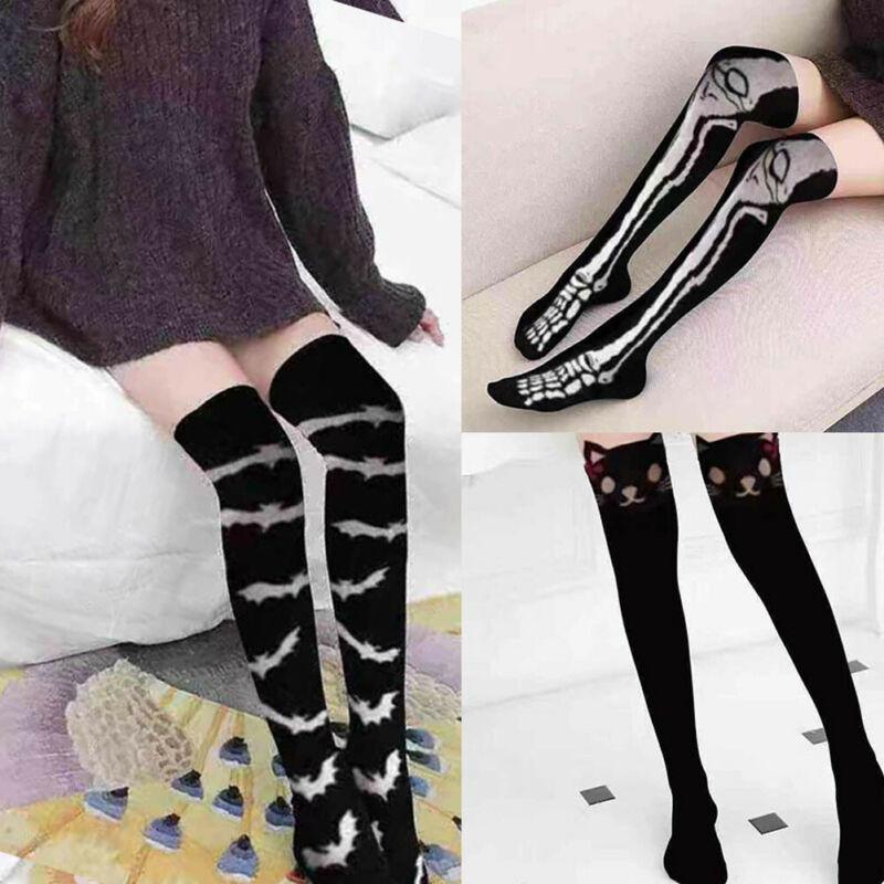 Halloween Girls Women Sports Socks Cotton Stockings Cat Skeleton Bat Print High Long Stockings Over Knee Thighs Sportswear