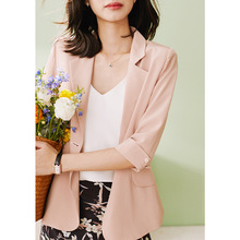 Casual blazer female 100% mulberry silk suit seven-quarter s