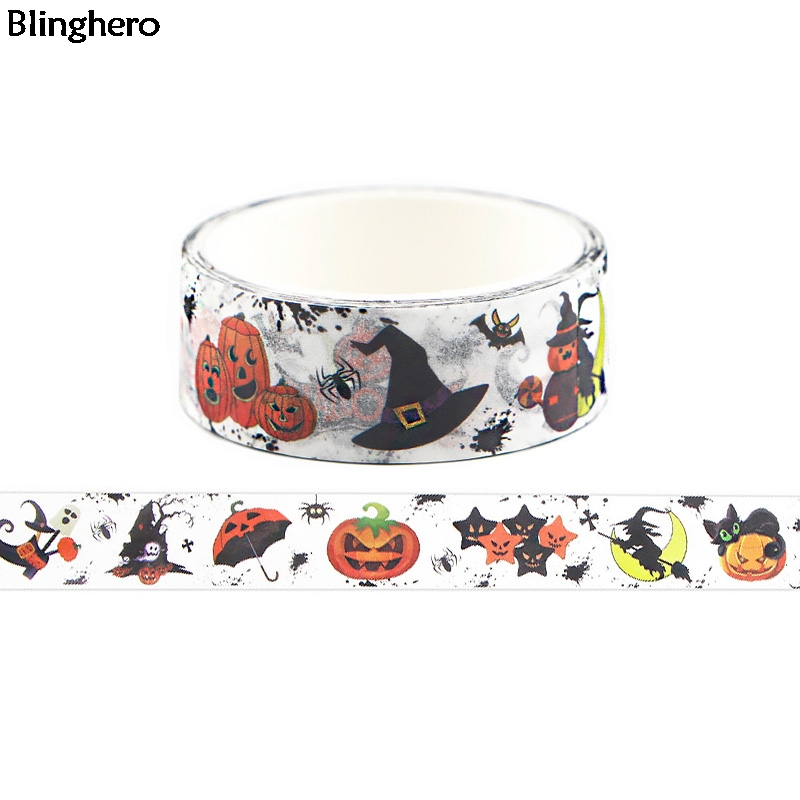 Blinghero 15mmX5m Halloween Washi Tape Cool Masking Tape Adhesive Tapes Cartoon Stationery Tapes Decal Halloween Gifts BH0327