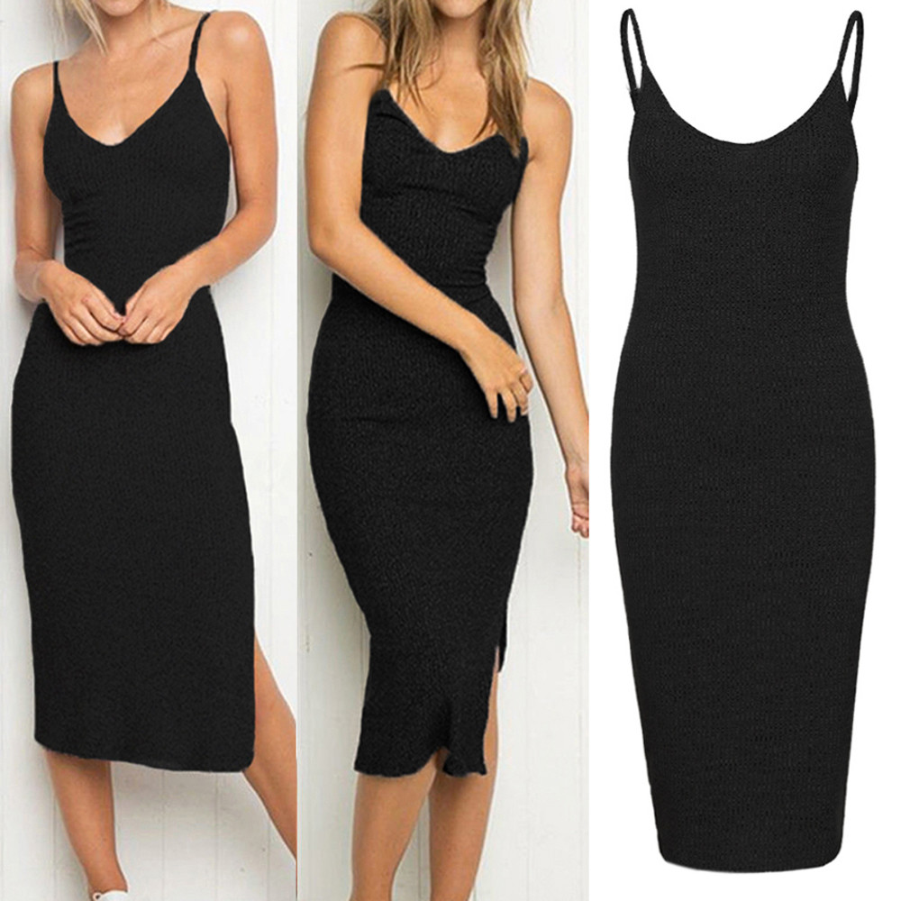 Dress Women Summer Womens Sleeveless Strappy Tank Dress Slim Rib Knit Split Party Midi Dress женское платье лето 2020