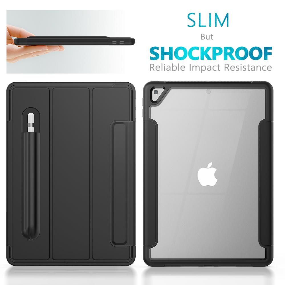 Black Black HXCASE Leather Smart Cover for iPad 7th Generation Case 10 2 inch Newest Transparent Back Cover