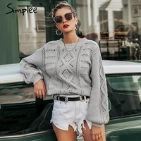 Simplee Hollow out knitted women pullover sweater Lantern sleeve female autumn winter sweater O neck casual ladies jumper 2019