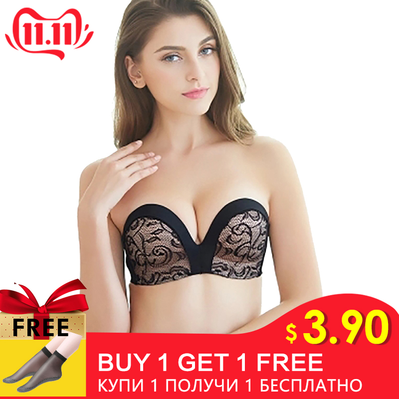 <font><b>Sexy</b></font> <font><b>Lace</b></font> Invisible <font><b>Bra</b></font> Seamless <font><b>Push</b></font> <font><b>Up</b></font> <font><b>Bras</b></font> For Women Backless Lingerie Bralette Brassiere 1/2 <font><b>Cup</b></font> Strapless Underwear #<font><b>D</b></font> image