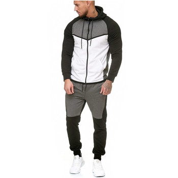 Mens Patchwork  Hoodie and Trouser Suit for Outdoor Sports Leisure Tracksuit Sweatpants