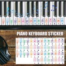 Durable Spectrum Keyboard Sticker Hit Color Transparent 25/49/61/76/88 Key Piano Keyboard Stave Note Sticker for Children(China)