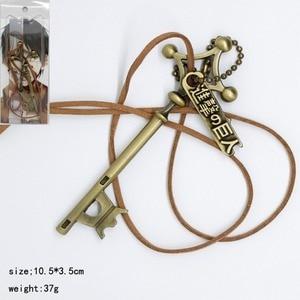 Attack on Titan Cosplay Pendant Necklace Eren Jager Password Key Fashion Personality Men Women Gargantilla Jewelry Accessories(China)