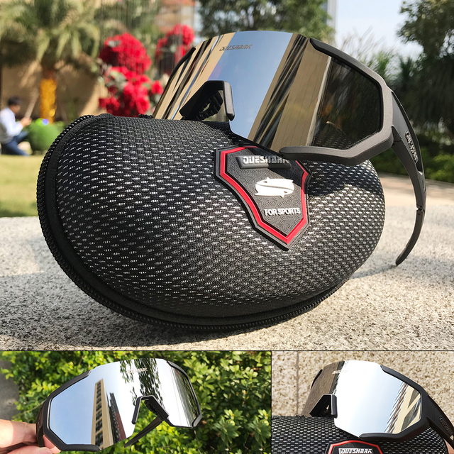 Queshark polarizado óculos de ciclismo das mulheres dos homens uv400 correndo esportes pesca óculos de sol mtb bicicleta com 3 lentes qe42 4