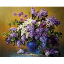Full 5D DIY Diamond-Painting Embroidery Purple White FlowersStitch Kits Decoration Art