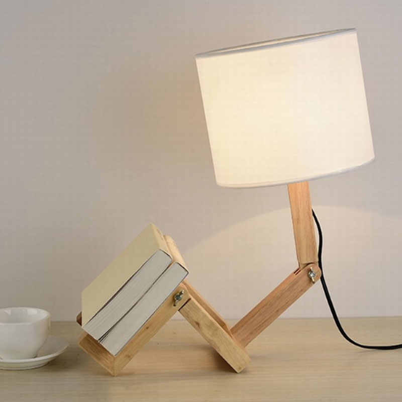 Wooden Robot Shape LED Table Lamp for Home Fabric Adjustable Reading Desk  Light Modern Bedroom Bedside Lamp Luminaria|LED Table Lamps| - AliExpress