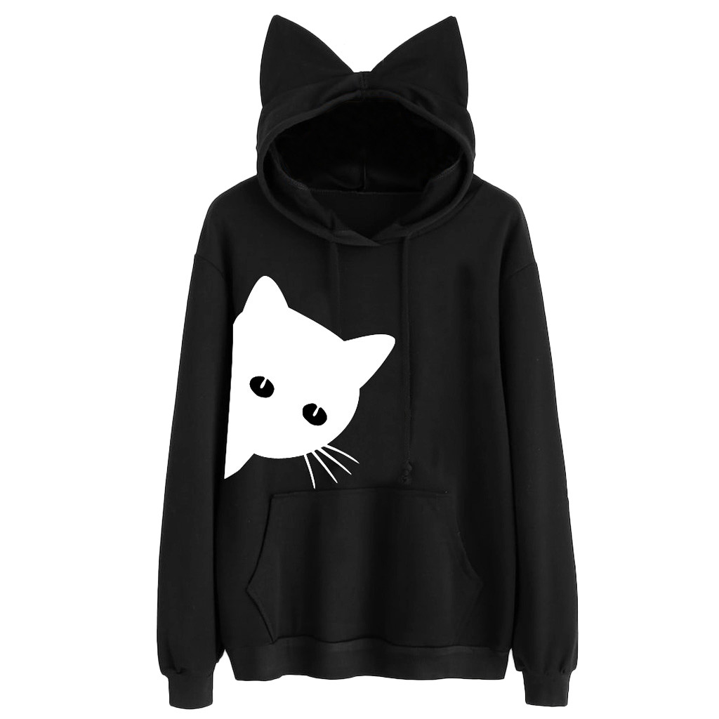 JAYCOSIN women Cat Long Sleeve Hoodie Fashion Casual Sweatshirt Loose Warm Daily Style Sweatshirt Autumn Winter