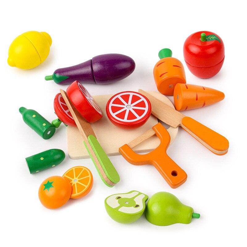 Juego de cocina de madera para niños y niñas, juguete de simulación de fruta y verdura, corte magnético, juego de casa, Educación Temprana