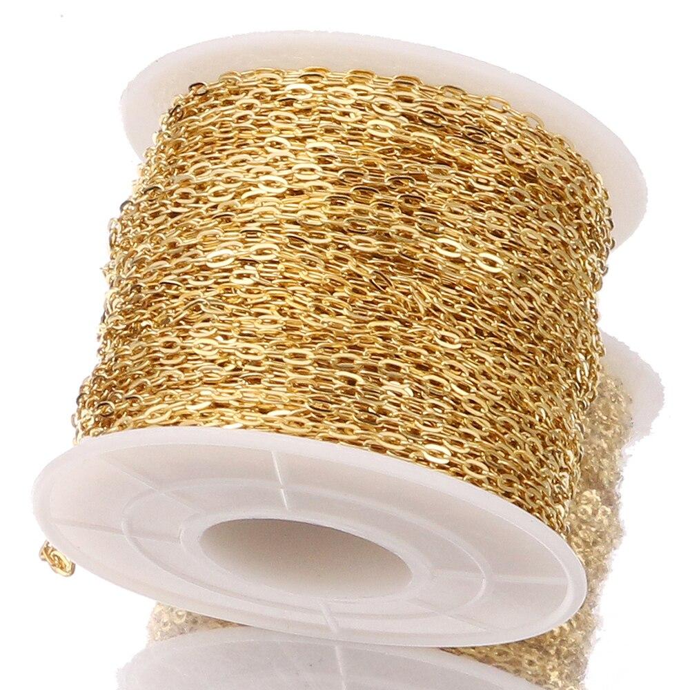 2 метра золотой тон, ширина 1,7 мм, трос Rolo, цепочка из нержавеющей стали, золотая цепочка для ожерелья, ювелирные изделия, принадлежности