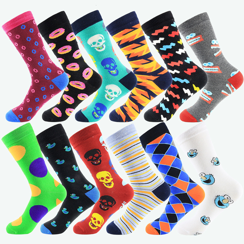 Fashion Hip Hop Mens Happy Socks Funny Street Graffiti Bump Color Long Socks Cotton For Male 12 Kinds EUR39-44 399