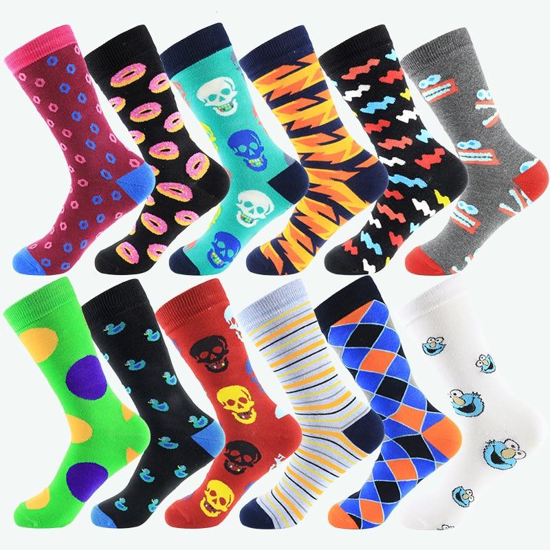 Fashion Hip Hop Mens Happy Socks Funny Street Graffiti Bump Color Long Socks Cotton For Male 12 Kinds EUR39-44 399