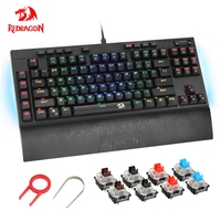 Redragon K588RGB USB Mechanical Gaming Keyboard RGB Blue Switch Diy Ergonomic Key Backlit Anti Ghosting PC Pro Gamer