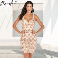 Reaqka 2019 Spring Summber Women Sequin Dress Beading Tassel Plaid Gold Spaghetti Strao Fashion Sexy Party Event Dance Dresses