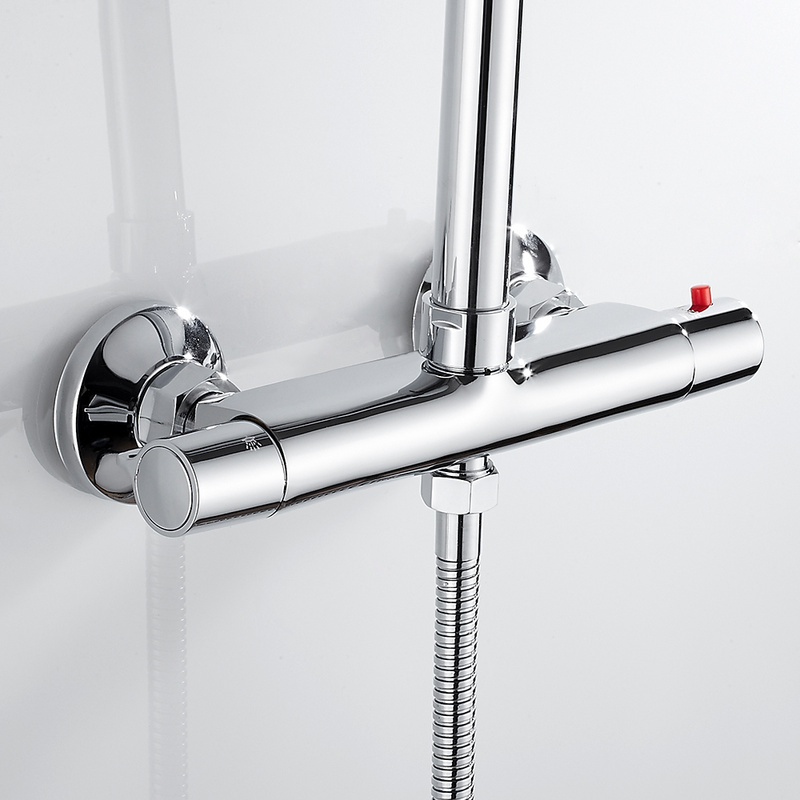 Bath Shower Faucet Thermostatic Faucets Wall Mounted Mixer Valve Tap Temperature Control Rain Shower Chrome Bathroom Twin Outlet