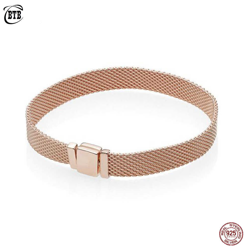 Rose Gold Reflexions Bracelets Hot 925 Silver Metropolitan Style Women Fashion Classic Signature Bracelets Jewelry Gift 16-21 CM
