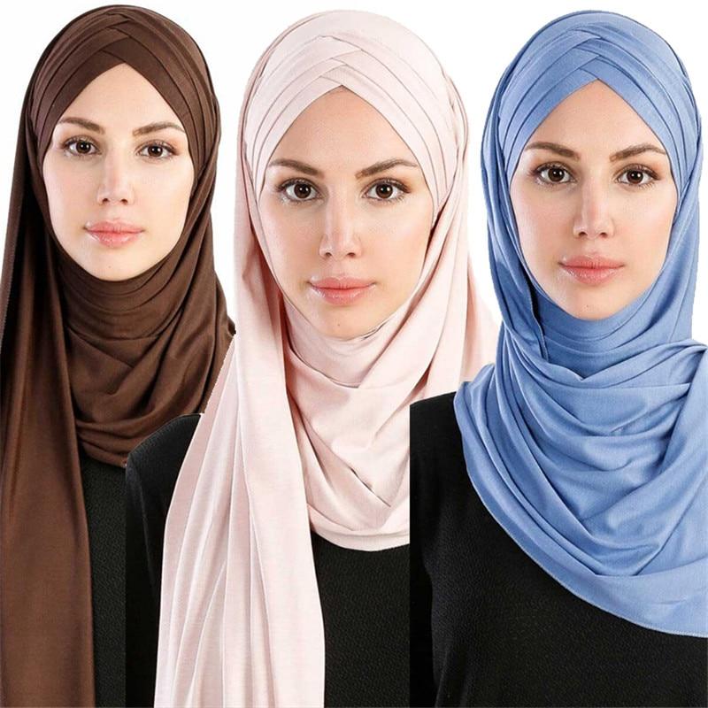 2019 NEW Muslim Instand Shawl Jersey Hijab Scarf Islamic Female Soft Headscarf Turban Hijab Femme Musulman Foulard Head Scaves