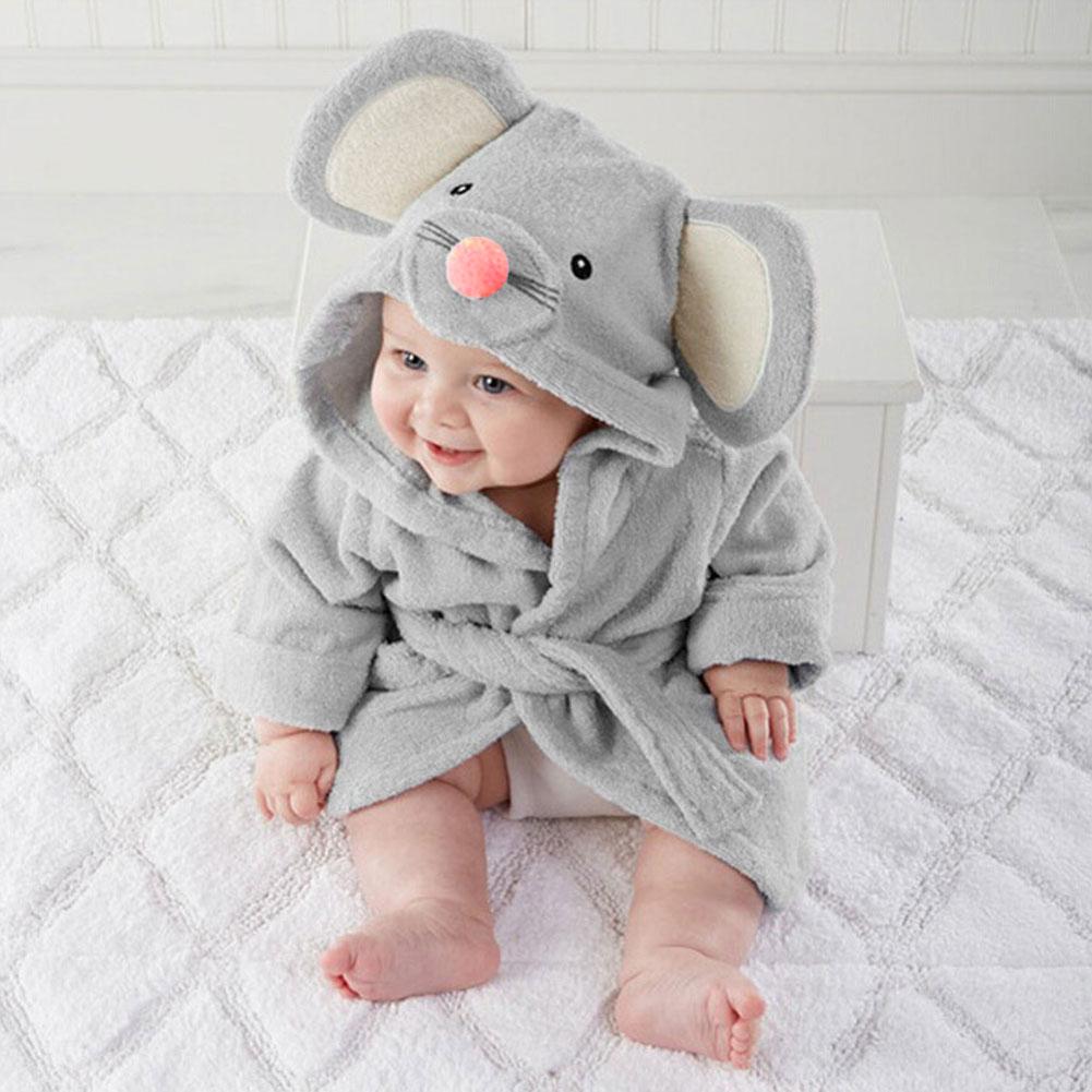 New Baby Bathrobe Children Kids Pajamas Panda Mouse Rabbit Bath Robe Baby Homewear Boys Girls Hooded Robe Beach Towel